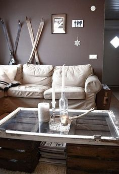 Wooden Crate coffee table. Wooden Crate idea.