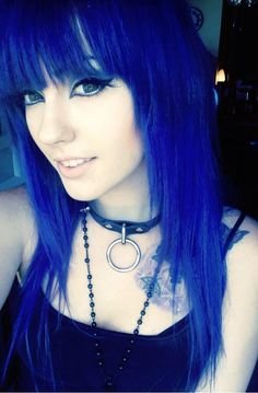 blue face framed straight across bangs hairstyle