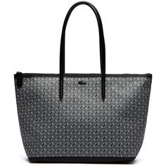 Lacoste Women`s L.12.12 Concept Croc Shopping Bag - Large Format (€115) ❤ liked on Polyvore featuring bags, handbags, crocodile purse, white handbags, white shopping bags, croc embossed handbags and lacoste purse