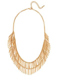 Shimmy and shake when you wear this fun necklace that flaunts golden chains covered in beaded fringe that sway with every move you make.