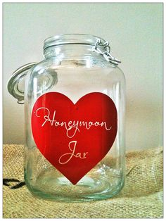 It's finally your wedding day, you are having a great time and in a couple of hours you will embark on your honeymoon! Why not start your next step as newlyweds off right with a couple of extra bucks in your pocket? This jar is the perfect complement to all of your shabby chic wedding decor.