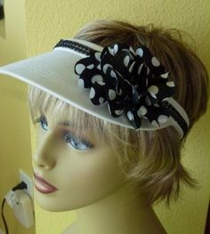 Glitzy Ladies open clip Sun Visor with Black beaded by ArtsyTreats