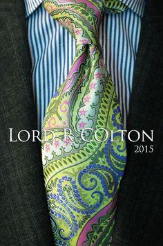 Lord R Colton Masterworks Tie - Galapogos Lime Stripe Silk Necktie - $195 New #LordRColton #NeckTie