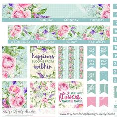 Floral Monthly Stickers Printable Monthly Planner Stickers