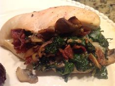 paleo- spinach, bacon, mushroom stuffed chicken breast---- Trying tonight, minus the spinach, because i don't have any. Mushroom Stuffed Chicken Breast, Healthy Stuffed Chicken Breast, Chicken Breast With Bacon, Spinach Stuffed Chicken, Chicken Breasts, Paleo Mom, How To Eat Paleo, Clean Recipes, Paleo Recipes