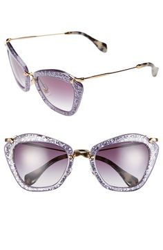 Miu Miu 55mm Glitter Sunglasses at Nordstrom.com. Delicate metal hardware composes the arched bridge and barely there temples of striking, modernized cat-eye sunglasses detailed with shimmering glitter and gradient lenses for a decidedly retro aesthetic.