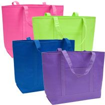 "Bright Solid-Colored Tote Bags, 10x14"" at Deals"