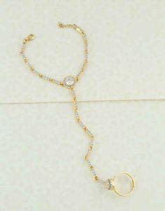 Ring Bracelet: Buy Bridal Hath Phool & Hand Bracelet with Chain Online Hand Jewelry, Jewelry Art, Jewelry Bracelets, Hand Bracelet With Ring, Ring Bracelet, Fancy Hands, Chevron Ring, Hand Chain, Oxidised Jewellery