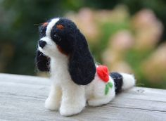 Kodee! Such talent, I love these. Blenhiems and rubies available. Go look!  Story the Tricolor Needle Felted Cavalier King by Cavlicious