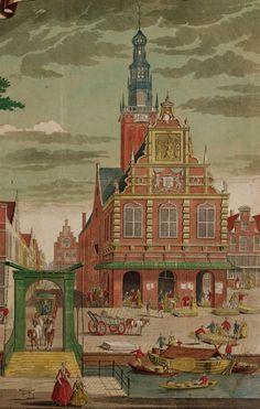 Gezicht op de Waag in 1725 Dutch Recipes, My Heritage, Slot, Holland, Amsterdam, Dutch Food, History, Retro, Country