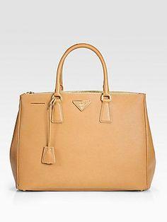 Prada Saffiano Lux Double-Zip Tote Bag in Caramel. Beautiful color