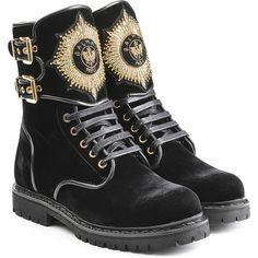 Balmain Eagle Velvet Ankle Boots ($1,449) ❤ liked on Polyvore featuring shoes, boots, ankle booties, balmain, black, lace up boots, short black boots, black bootie, black buckle booties and black ankle booties