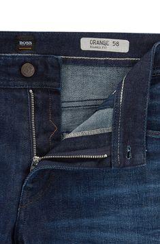 Distressed vintage-blue stretch-denim jeans in a relaxed fit - BOSS Raw Denim, Denim Jeans, Boss Orange, Dark Blue Jeans, Trousers, Pants, Stretch Denim, Dress To Impress, Menswear