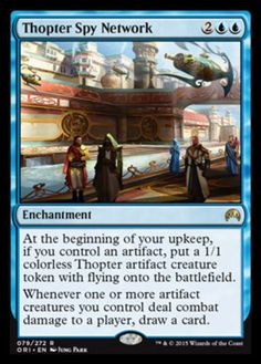 Thopter Spy Network mtg Magic the Gathering blue rare enchantment card Magic Origins