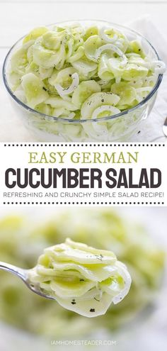 Use up those abundant cucumbers from your garden in this summer salad idea! German Cucumber Salad is cool, refreshing, and crunchy. This version of the old-fashioned summer recipe is simple, easy, and delicious. Marinate for several hours before serving for more flavor! Cucumber Recipes, Summer Salad Recipes, Easy Salad Recipes, Easy Salads, Summer Salads, Easy Healthy Recipes, Healthy Foods To Eat, Vegetarian Recipes, Healthy Eating