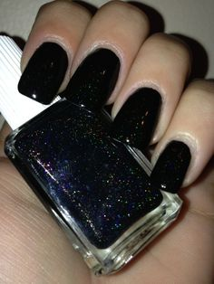 Name: Small batch prototype NAP Sample  Description: Black based holographic, with pink flake shimmer. Please note this is a thick style polish, 1 coat will usually do the trick. It can be thinned using your favorite thinner.