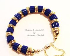 """We love this lapis blue and 18K gold overlay (permantly sealed to prevent discoloration) bracelet by Alexandra Marshall. 7 1/2"""" w/magnetic clasp & safety chain. # b2203. $89.  Double click photo to order."""