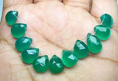 46.44Ct Natural Brazil Green Onyx Faceted Almond 10.5-13 MM Loose 11 Drop Layout