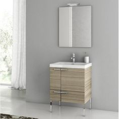 Have to have it. ACF by Nameeks ACF ANS01-LC New Space 23-in. Single Bathroom Vanity Set - Larch Canapa - $2156.78 @hayneedle