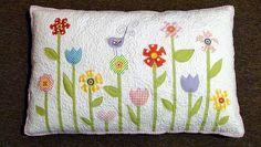 flower applique pillow