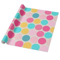 Cute Pink, Blue, and Yellow Mega Dots Wrapping Paper. #wrappingpaper  https://www.zazzle.com/z/3yzhl