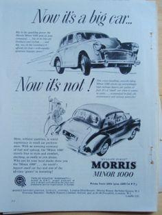 Morris Minor 1000 old vintage retro classic car advert 1958 Original Print BMC | eBay