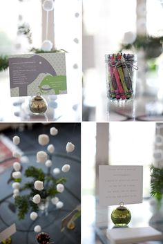Love the cotton balls on string. Look like puffs of snow. Green and Gray Winter Elephant Baby Shower