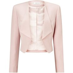 Precis Petite Waterfall Jacket ($77) ❤ liked on Polyvore featuring outerwear, jackets, pink waterfall jacket, pattern jacket, print jacket, petite jackets and pink cropped jacket