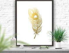 Feather Print Gold Feather Print Digital Print by ATArtDigital Gold Decorations, Gold Feathers, Gold Art, Feather Print, Wall Prints, Digital Prints, Fingerprints, Wall Murals, Gold Jewelry