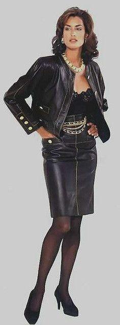 Vintage black leather skirt and jacket ensemble