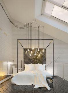 Hanging Light Bulbs in Industrial Bedroom with black metal canopy bed via Anna Drokova Cozy Bedroom, Modern Bedroom, Bedroom Decor, Bedroom Rustic, Bedroom Ideas, Bedroom Wall, Master Bedroom, White Bedroom, Bedroom Fireplace