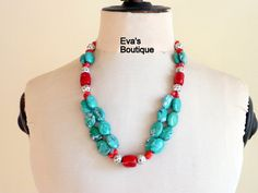Statement necklace with green turquoise beads and red by evarugina, €29.00
