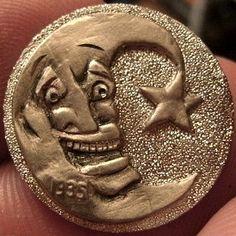 JOEY BLAYLOCK HOBO NICKEL - MAN IN THE MOON - 1935 BUFFALO NICKEL Hobo Nickel, Buffalo, Coins, Carving, Art, Art Background, Rooms, Wood Carvings, Kunst