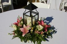 Candle Centerpiece with Lilies and Roses