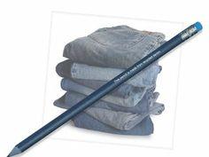 Bleistift aus recycelten Jeanstoffen.