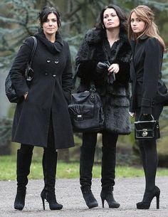 """""""The Witches of Weatherfield"""" Michelle, Carla and Maria Classy Women, Sexy Women, Coronation Street Cast, Carla Connor, Sexy Winter Outfits, Alison King, Carol Kirkwood, Kym Marsh, Funeral Outfit"""