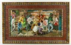 """1039 - Singer, Street Scene, Oil on Canvas Clyde Singer (American, 1908–1998), street scene, oil on canvas, 14"""" h x 28"""" w (view), 22"""" h x 36"""" w (frame). Provenance: from a Florida estate.  EST: $1,000 - $2,000 May 7th Estate Auction 