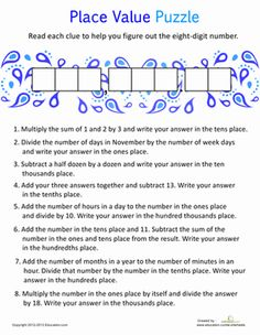 Fifth Grade Decimals Place Value Worksheets: Place Value Practice