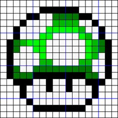 1UPキノコのアイロンビーズ図案(反転) Pearl Beads Pattern, Hama Beads Patterns, Beading Patterns, Pixel Crochet Blanket, Afghan Crochet Patterns, Cross Stitch Patterns, Fuse Beads, Perler Beads, Minecraft Beads