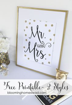 Beautiful free printable in 2 styles. These would make a perfect wedding gift or master bedroom decor.