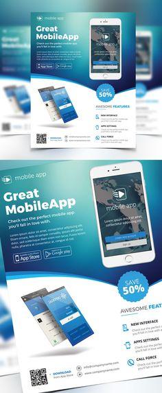 Creative Apps Promotion Flyer Template #design #flyerdesign #flyertemplates #posterdesign #corporateflyer