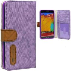 myLife Lightly Purple {Lined Design} Faux Leather (Card, Cash and ID Holder + Magnetic Closing) Slim Wallet for Galaxy Note 3 Smartphone by ...