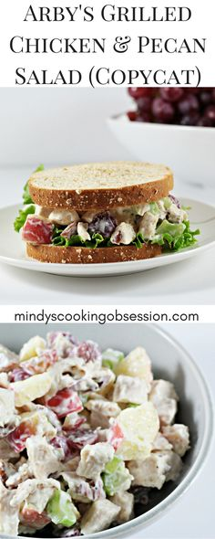 Arbys Grilled Chicken Pecan Salad Copycat features chicken grapes apples celery mayo yogurt salt and pepper It is healthy and delicious Arby's Chicken Salad Sandwich Recipe, Arbys Chicken Salad, Chicken Salad With Grapes, Pecan Chicken Salads, Grilled Chicken Recipes, Recipe Chicken, Apple Pecan Chicken Salad Recipe, Pecan Recipes, Copycat Recipes