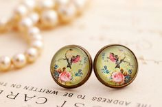 Glass bird stud earrings, green and pink earrings,