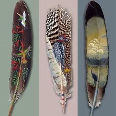 Alaskan born-and-bred artist Julie Thompson is an astounding exponent of this incredible art form. Known as feather art, this is the drawing or creation of images on feathers. Feather Painting, Feather Art, Bird Feathers, Painted Feathers, Painting Art, Feather Tattoos, Paper Feathers, Turkey Feathers, Feather Crafts