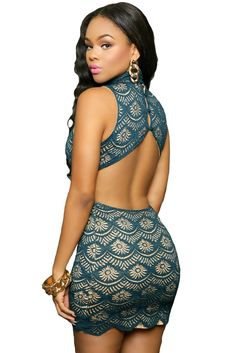 $35.99 Lace Nude Illusion Keyhole Back Dress