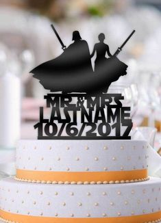15 wonderfully nerdy wedding cake toppers   wedding   Pinterest     Personalized Star Wars Couple Darth Vader Mr Mrs with Name and Date Wedding  Cake Topper