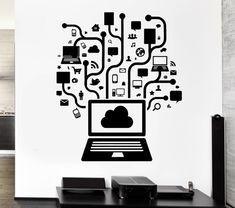 Wall Decal Computer Online Social Network Gamer Internet Teen PC Vinyl Stickers Art Mural (ig2558)