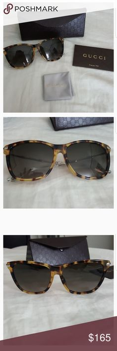 Gucci sunglasses New authentic gucci glasses with original packaging, case, cleaning cloth and authenticity card. Tortoise frame with silver bamboo.  Made in italy Color: Havana 100% UV protection Bio based Style# GG 3793 F/S Gucci Accessories Sunglasses