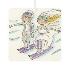 Wedding Skiers Car Air Freshener - wedding cyo special idea weddings